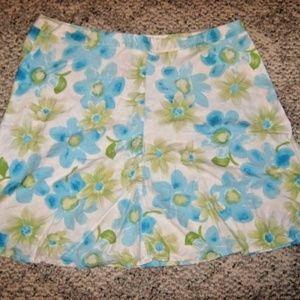 White Blue Green Bold Floral Flare Linen + Skirt
